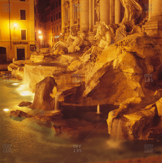 Trevi Fountain at night in Rome, Italy