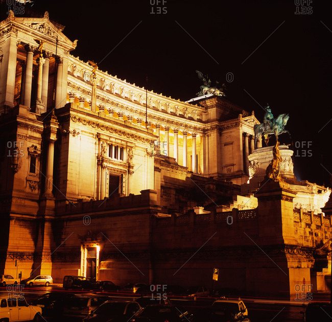 The Vittorio Emanuele II Monument at night, Rome, Italy