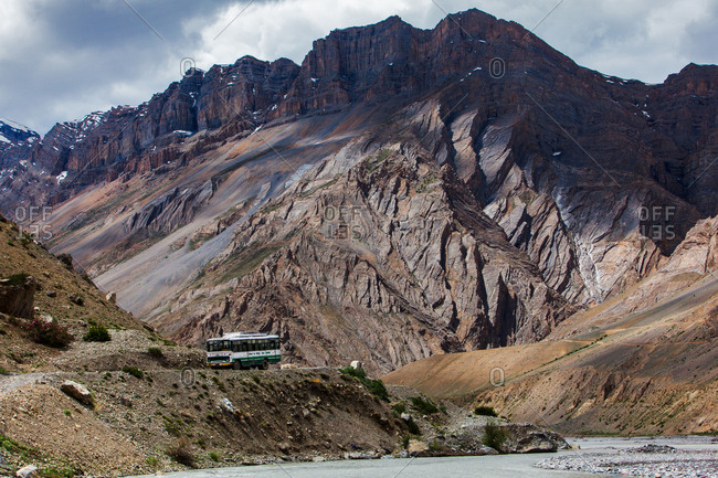 Himachal Roadways Bus going to Kaza in Spiti, Himachal Pradesh, India