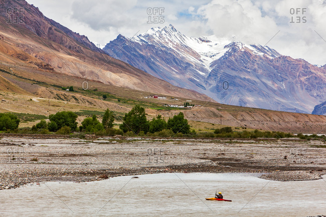 Kayaking on Spiti river in Himachal Pradesh, India