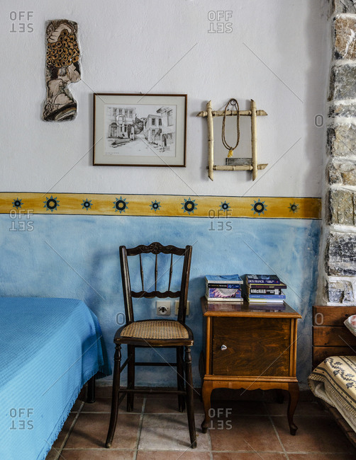 July 12, 2014: Detail of a room at Damouchari Hotel, Damouchari, Pelion peninsula, Greece