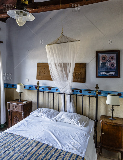 July 12, 2014: Bedroom at Damouchari Hotel, Damouchari, Pelion peninsula, Greece