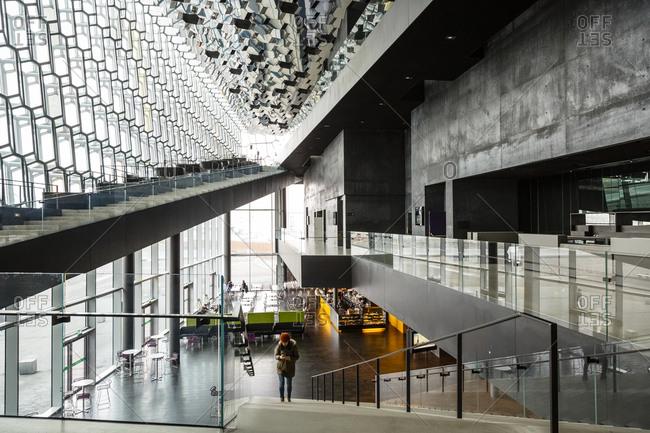June 9, 2014: Interior of the Harpa Concert Hall and Conference Center, Reykjavik, Iceland