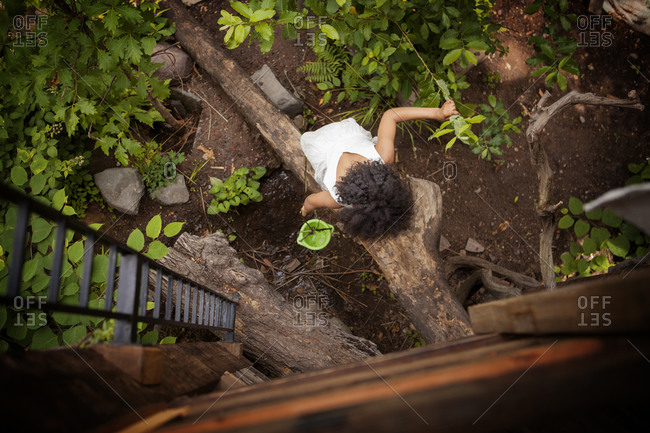 Girl climbing into a tree house