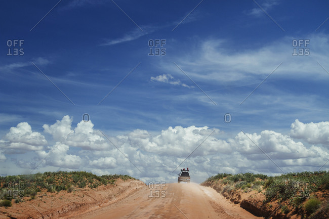 Four wheel drive truck on a dirt road in Texas