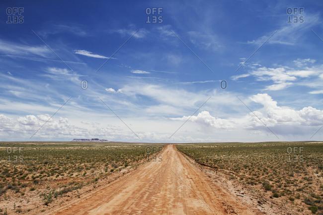 Dirt road in an arid landscape in Texas