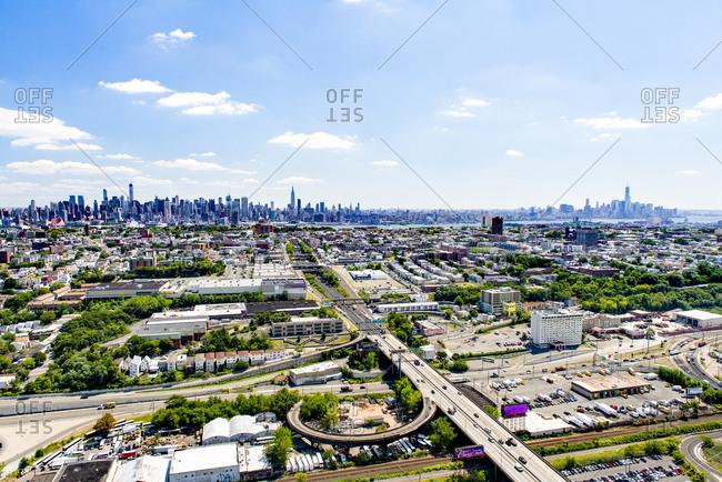 Aerial of Manhattan skyline from New Jersey