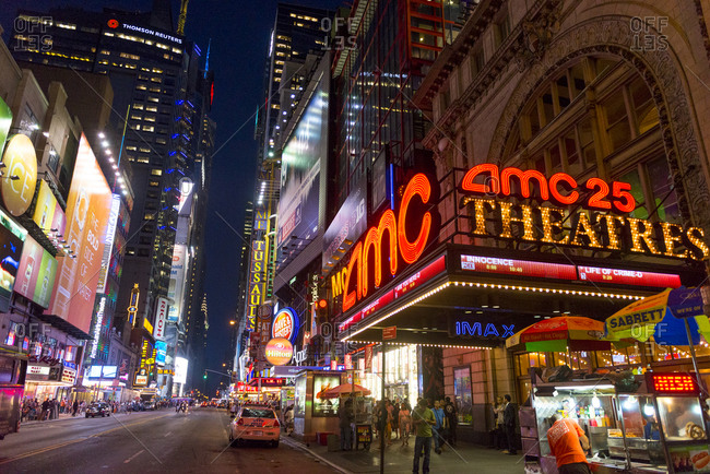 New York City, NY, USA - September 4, 2014: Lights and buildings of Times Square, New York City
