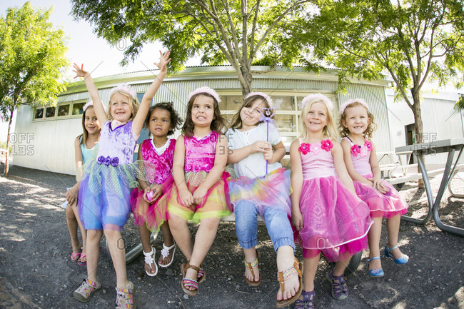 Santa Fe, New Mexico - June 24, 2015: Girls in dresses for princess themed birthday party by Parties for Peanuts