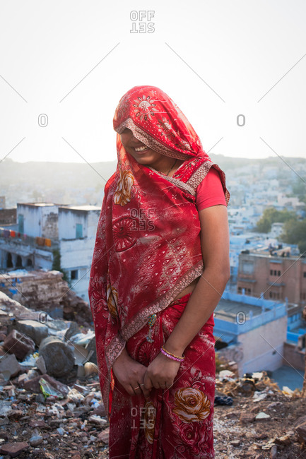 Jodhpur, India - January 24, 2013: Portait of a woman in a red sari