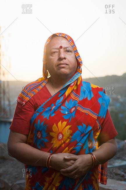 Jodhpur, India - January 24, 2013: Portait of a woman in a colorful sari