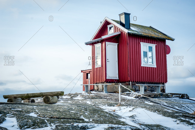 Cabin on a rocky hill