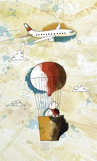 An illustration of a man in a hot air balloon beneath an airplane