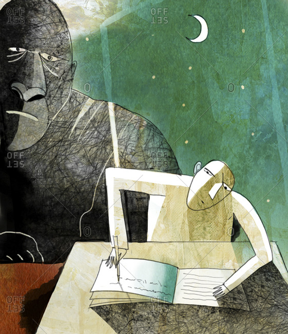 An illustration of a man writing in a journal