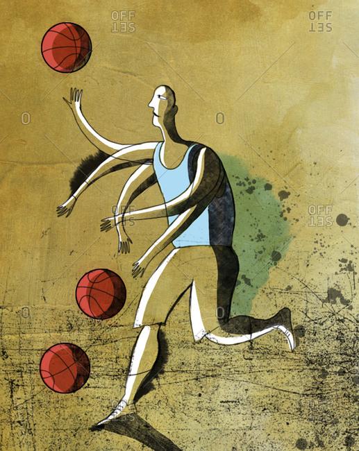 An illustration of a man dribbling three basketballs