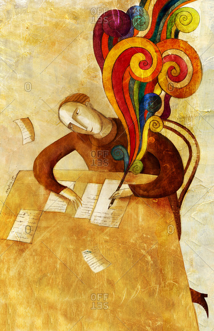 An illustration of a writer