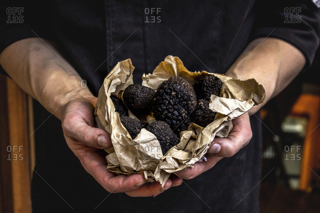 A man holds black truffles