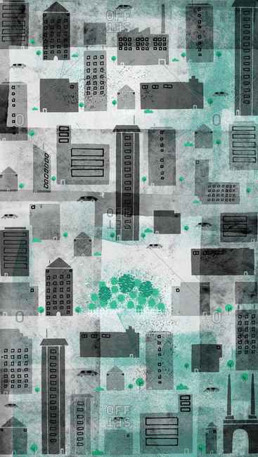 Stylized cityscape with gray buildings