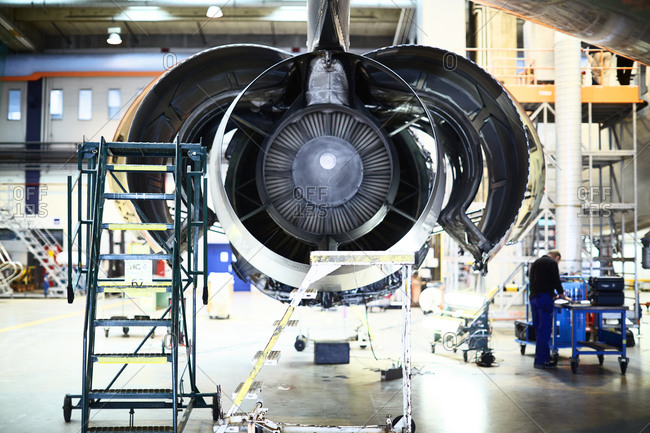 Plane engine being repaired