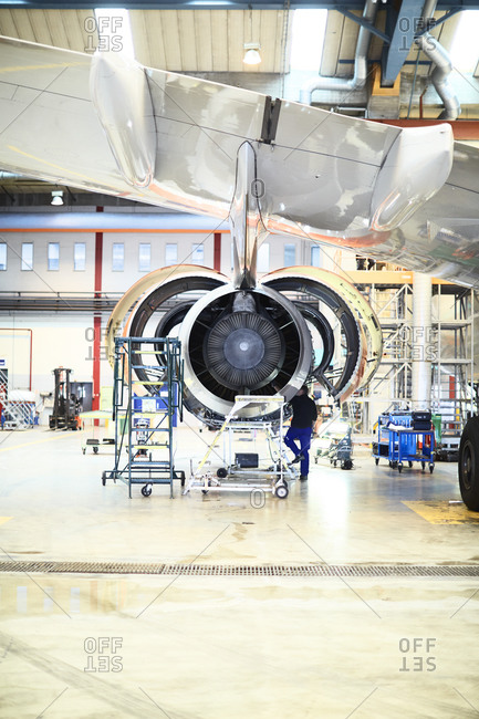 Engine of a plane being repaired