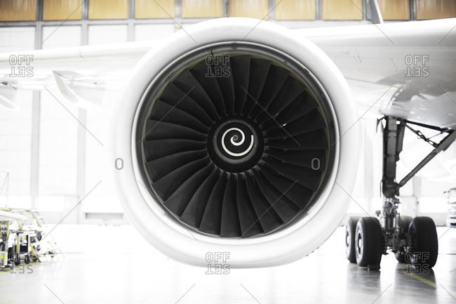 Close up of a plane engine