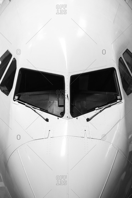 Cockpit and front of an airplane