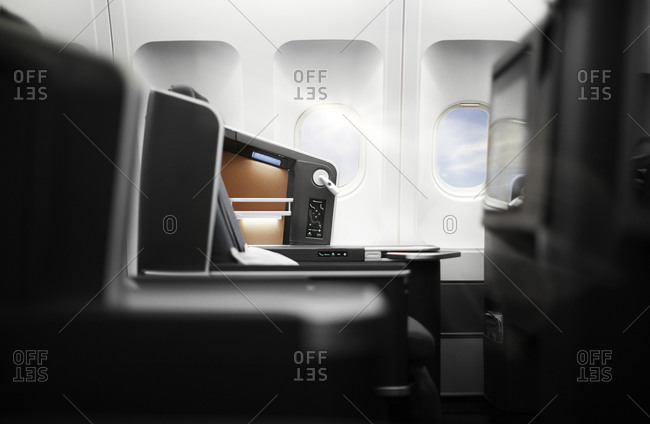 Interior detail of a plane's business class