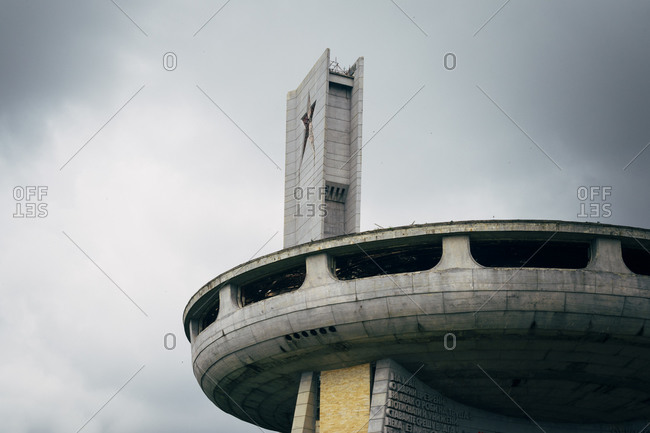 June 30, 2015: A tower on the Buzludzha, the headquarters of the Bulgarian Communist Party built in 1981 on a remote hilltop in the Balkan mountains
