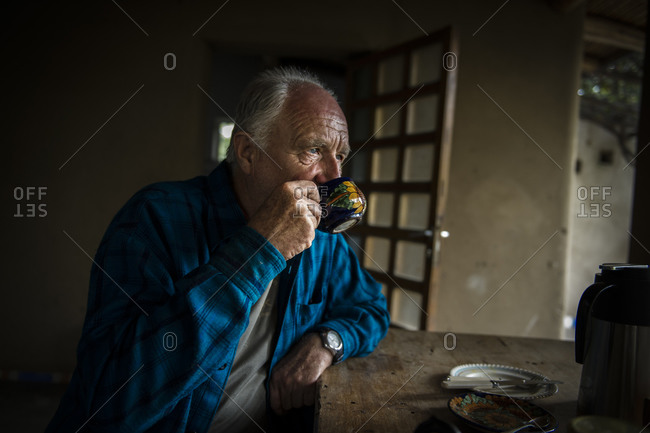 December 11, 2012: A Peruvian farmer sips coffee in the morning