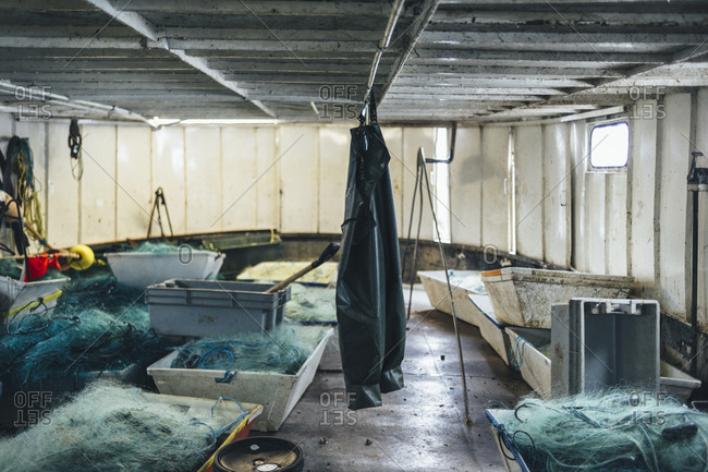 The inside of a native run commercial fishing vessel in Canada
