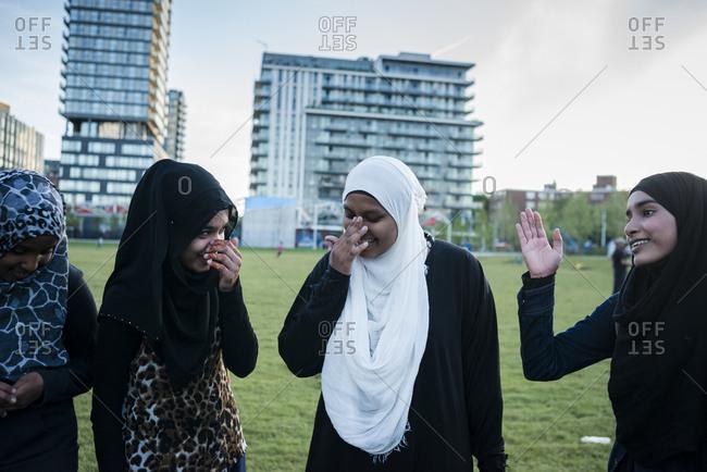 June 21, 2014: Residents enjoy the new Regent Park in Toronto, Canada