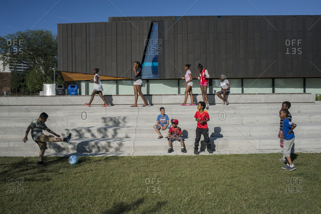 June 21, 2014: Children play in the new sports and recreation park in Regent Park, Toronto, Canada