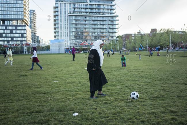 June 21, 2014: Children play in the new park in Regent Park, Toronto, Canada