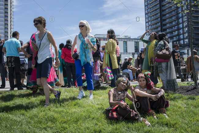 June 21, 2014: Crowds celebrate the opening of the new sports and recreation park in Regent Park, Toronto, Canada