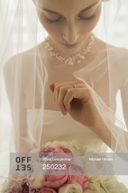 Bride looking at her wedding ring