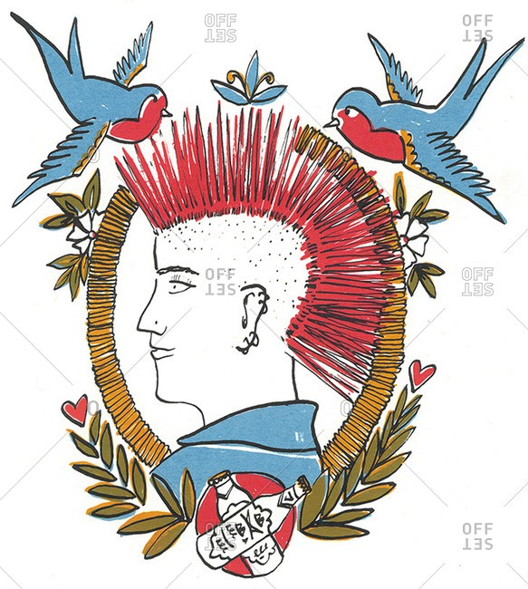 Illustration of a punk rocker with a mohawk