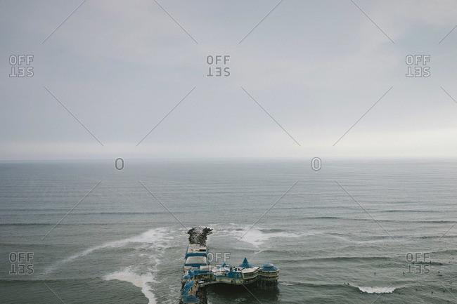 Overhead view of a pier in Miraflores, Peru
