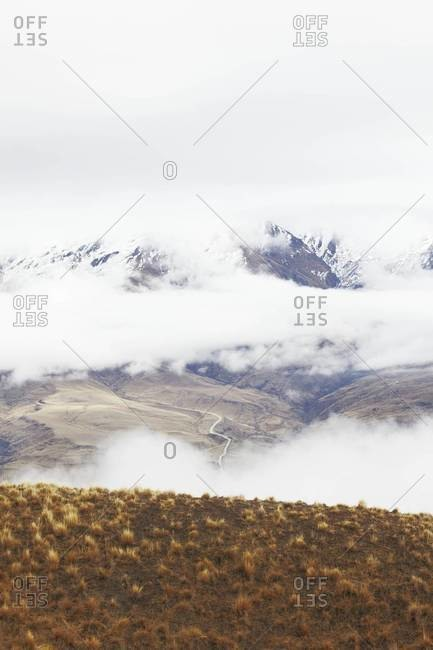 Mountains covered in clouds in New Zealand