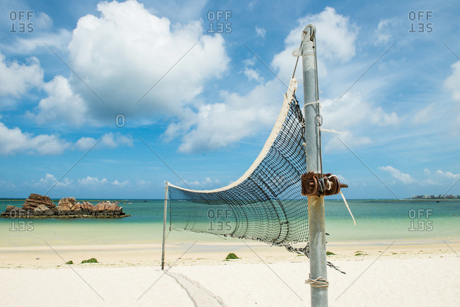 Volleyball net set up on a public beach