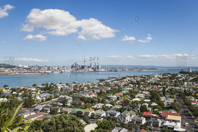Central Business District, Sky Tower, District Devenport in the foreground, Auckland