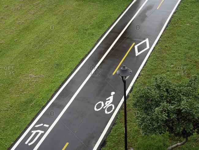 Empty bicycle lane, Taipeh