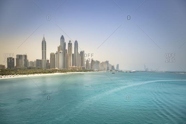 Skyline of Dubai Marina with Persian Gulf Coast