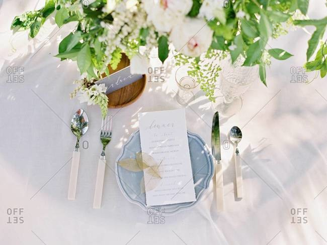Wedding dinner menu and place setting