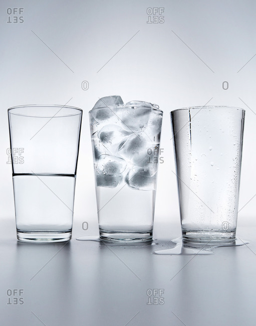 Three different glasses of water