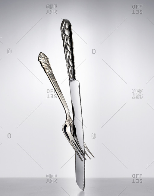 Still life of a knife and fork