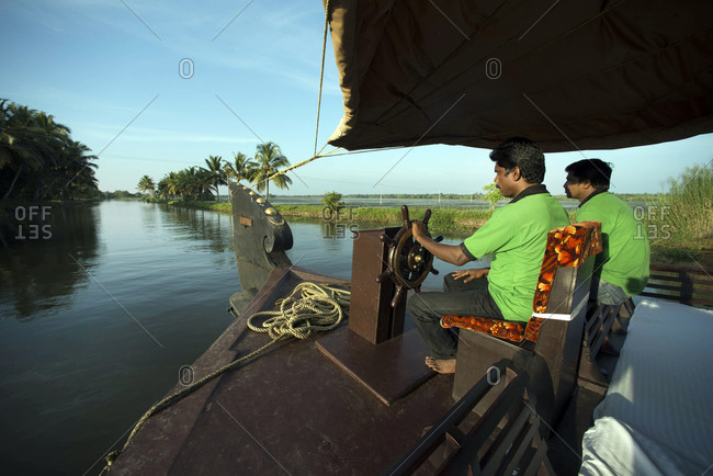 Kerala Backwaters, India - November 4, 2012: House boat tour on the Kerala Backwaters, India
