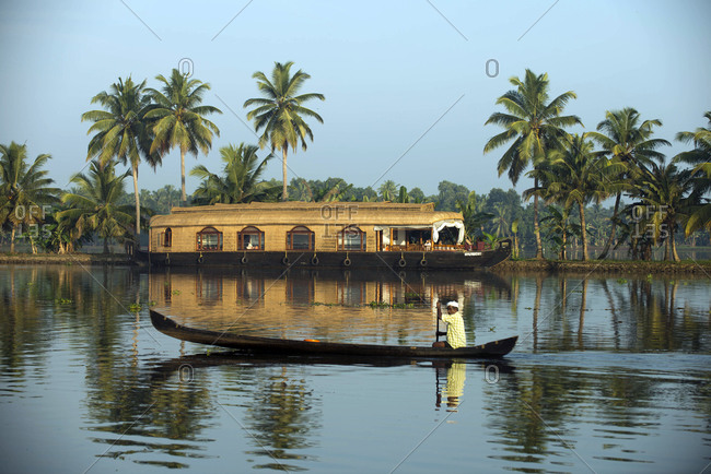 Kerala Backwaters, India - November 5, 2012: House boat on the Kerala Backwaters, India