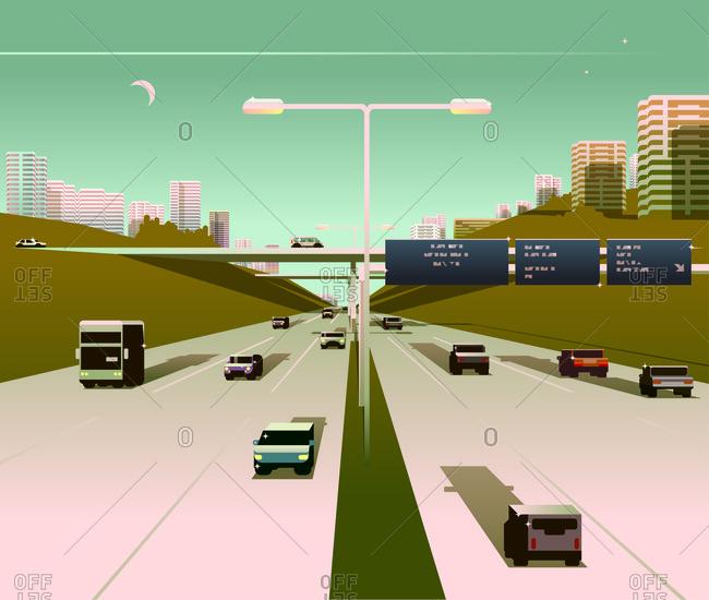 An illustration of highway traffic