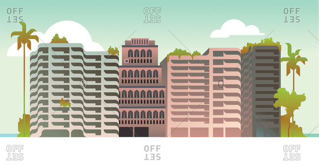 An illustration of office and residential buildings