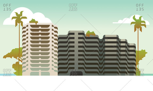 An illustration of large office buildings